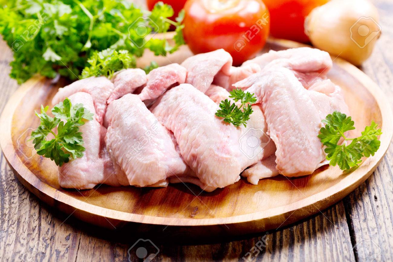 raw chicken wings with parsley stock photo picture and royalty free