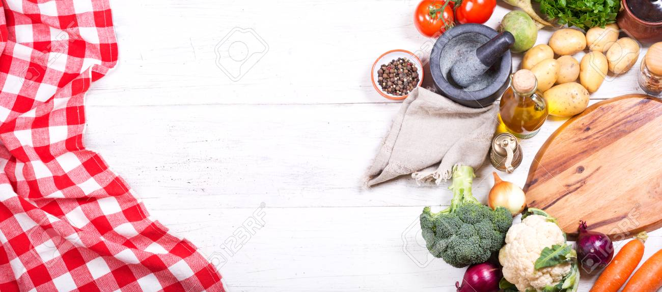 Empty Board With Various Products For Cooking On Wooden Table... Stock  Photo, Picture And Royalty Free Image. Image 67206427.