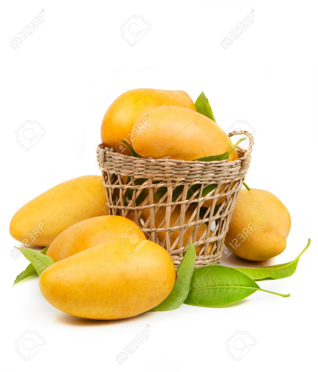 detailed images online for sale timeless design Fresh mango and leaves in basket isolated white background