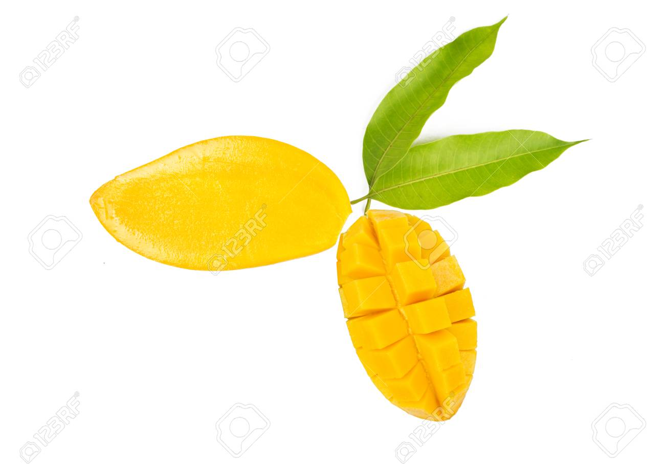 Mango Season With Half Cut And Slice With Leaves Isolated White ...