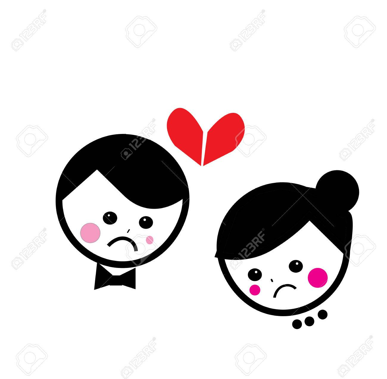 Heart Broken Couples Cartoon Vector Background Royalty Free