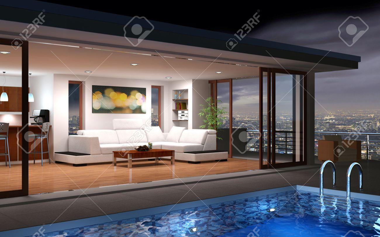 Modern huis met zwembad en prachtig uitzicht royalty vrije foto ...
