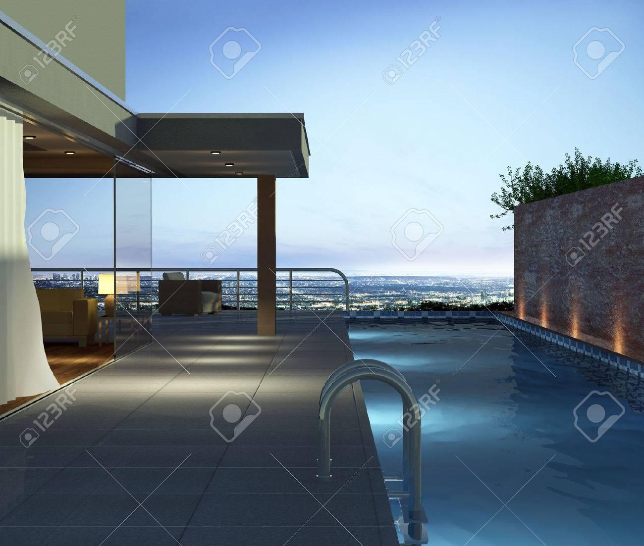 Maison Moderne Avec Piscine Et Belle Vue Banque D'Images Et Photos ...