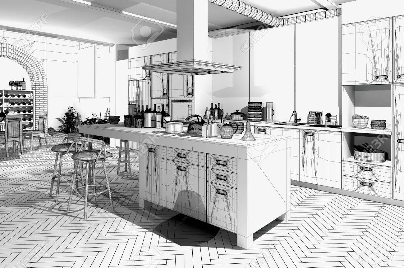 Modern Kitchen / 3D Wireframe Model Stock Photo   34801031