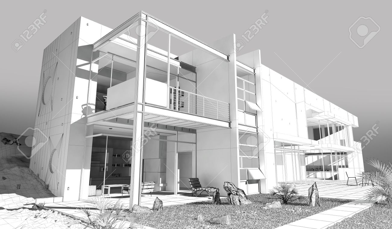 Modern House / 3D Wireframe Model Stock Photo, Picture nd oyalty ... - ^