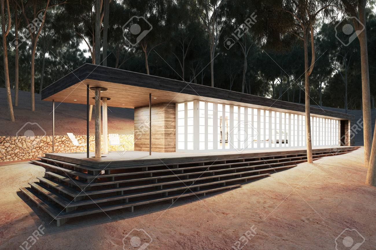 Lovely Modernes Haus Im Wald / 3D Rendering Lizenzfreie Bilder   37001915 Amazing Design