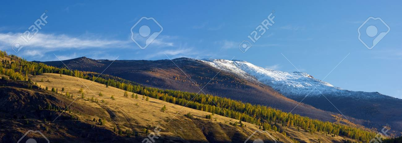 Panoramic view of snowy mountain peaks and autumnal forest valley Stock Photo - 5993014