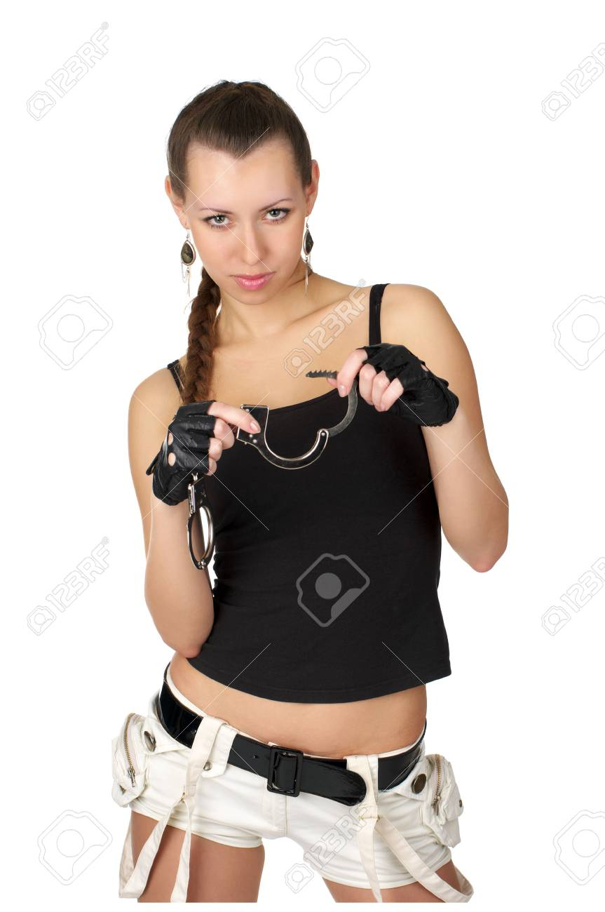 Beautiful sexy woman with handcuffs isolated over white Stock Photo - 6867584