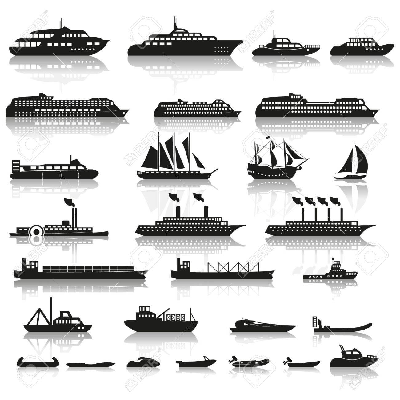 Set of ships and boats - 24660113