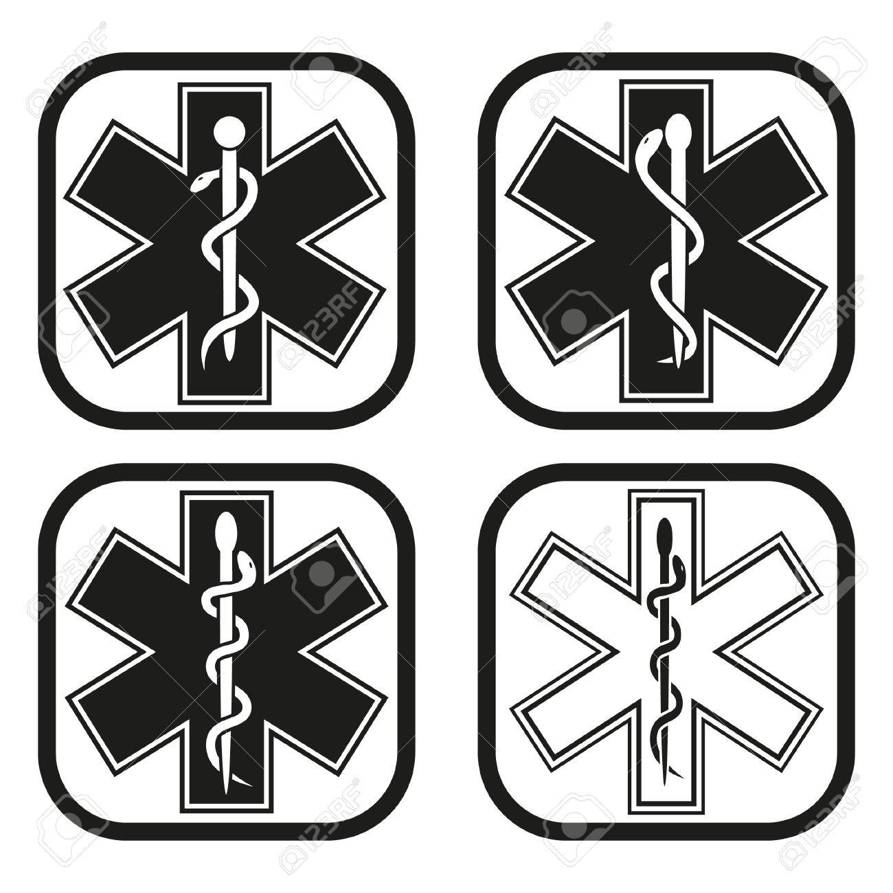 Medical Emergency Symbol Four Variations Royalty Free Cliparts