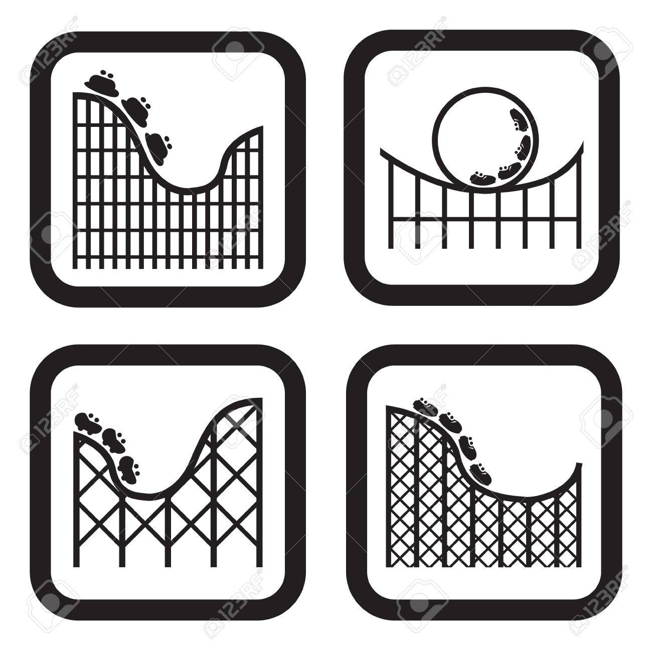 Roller coaster icon in four variations - 42117509