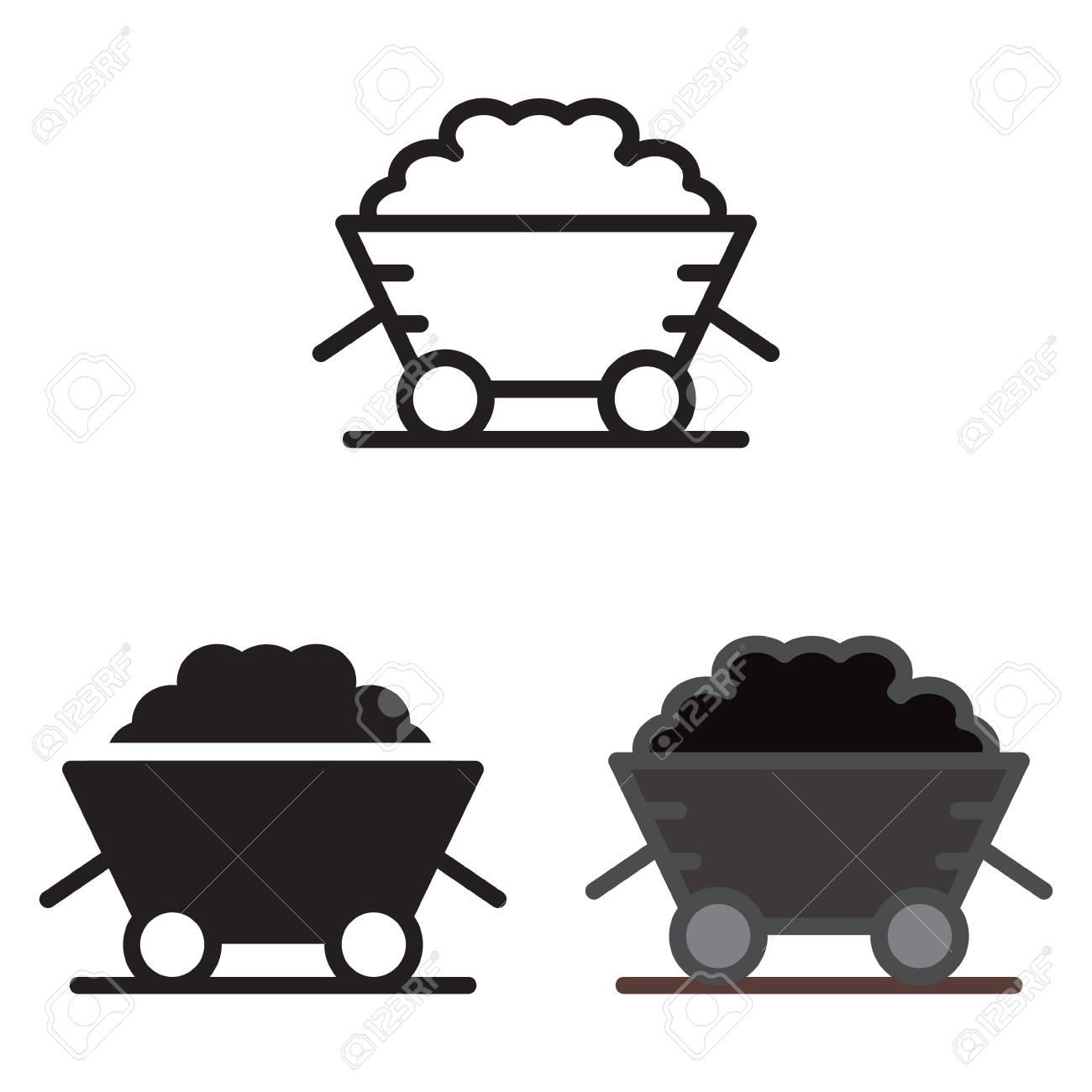 Coal trolley icon vector illustration. - 88641330