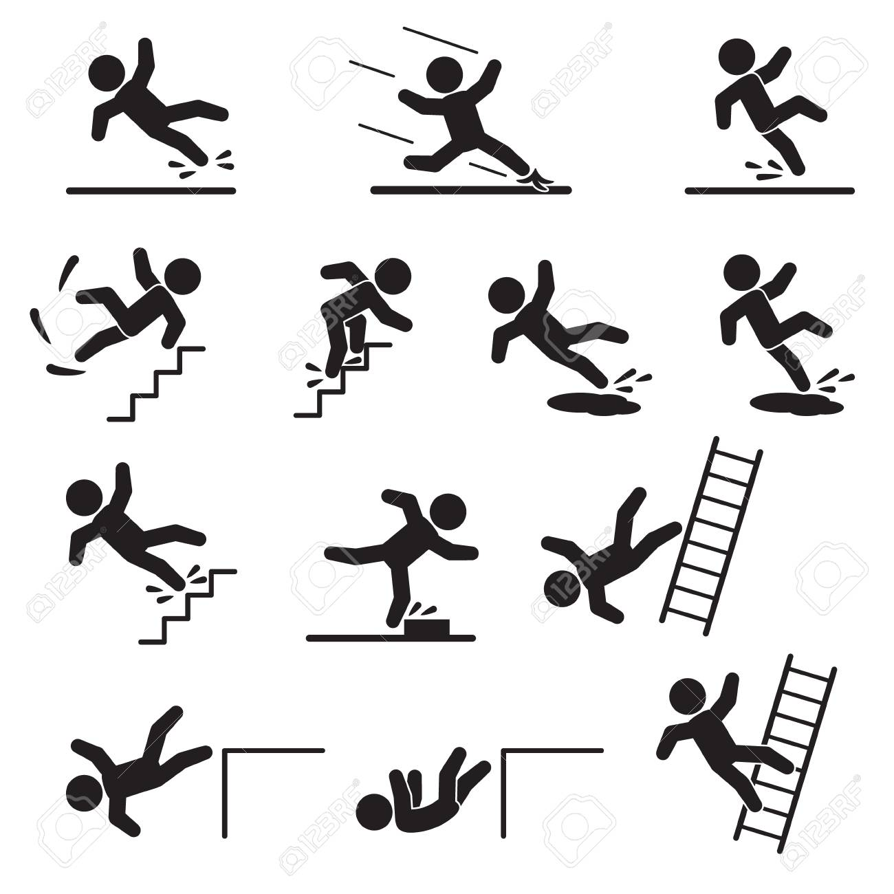 People falling or slipping icon set. Vector. - 104302979
