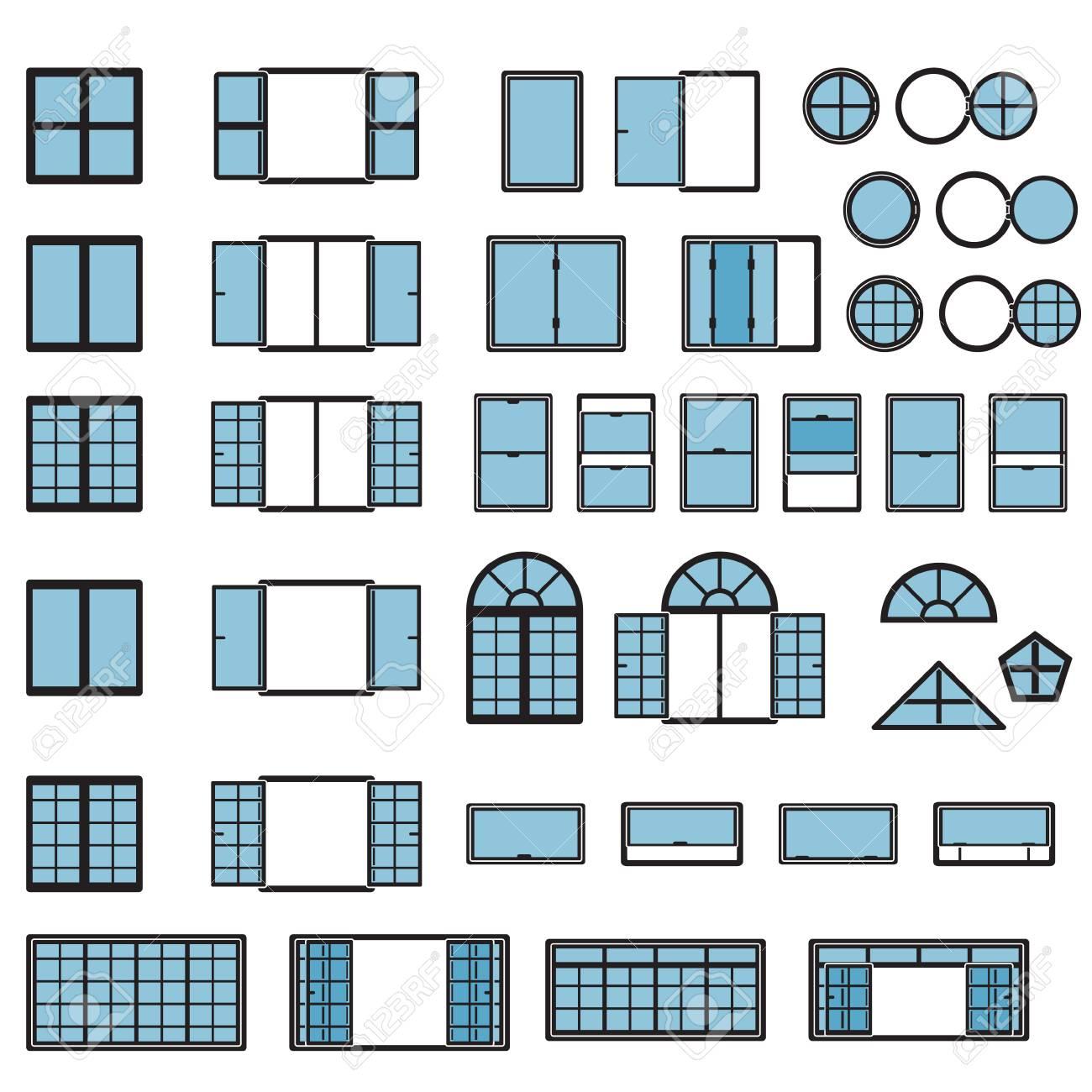 Windows icon set  Window types set  Vector