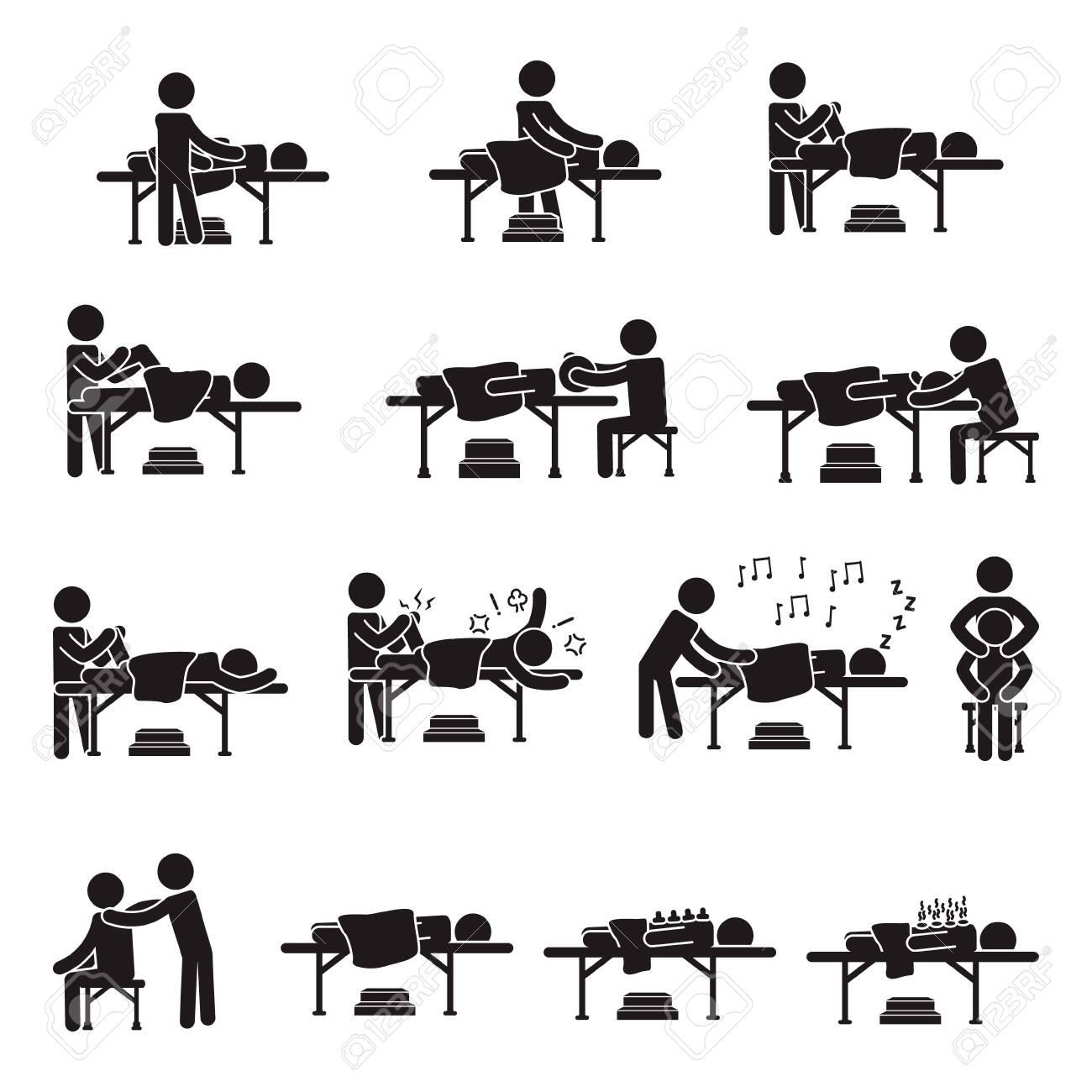 Massage people icon set. Vector. - 135535912