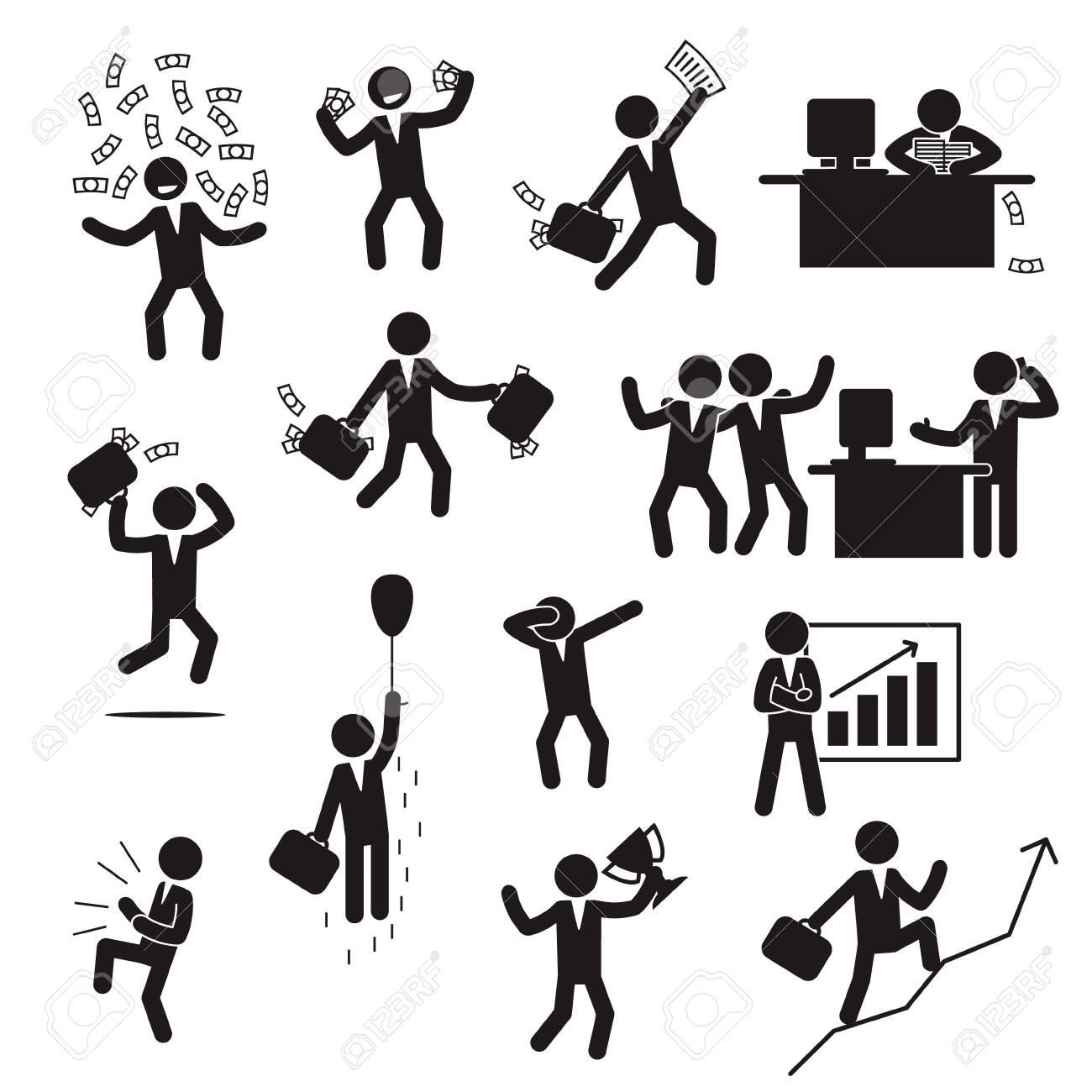 Successful businessman icon set. Happy businessman icon set. Vector. - 147816751