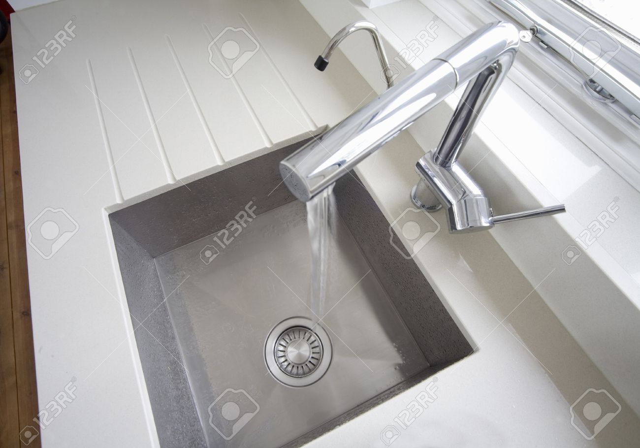 Square Kitchen Modern Inset Square Kitchen Sink Shot From Above Stock Photo