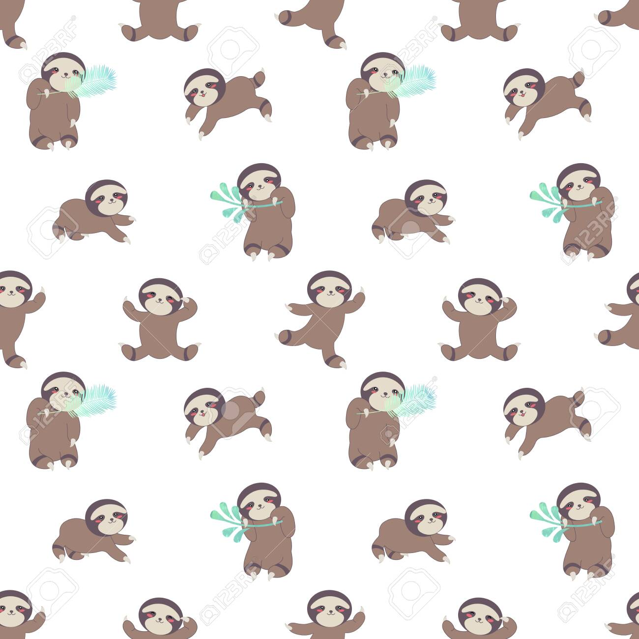 Cute Baby Sloths Seamless Pattern In A Cartoon Style On A White Royalty Free Cliparts Vectors And Stock Illustration Image 137241455
