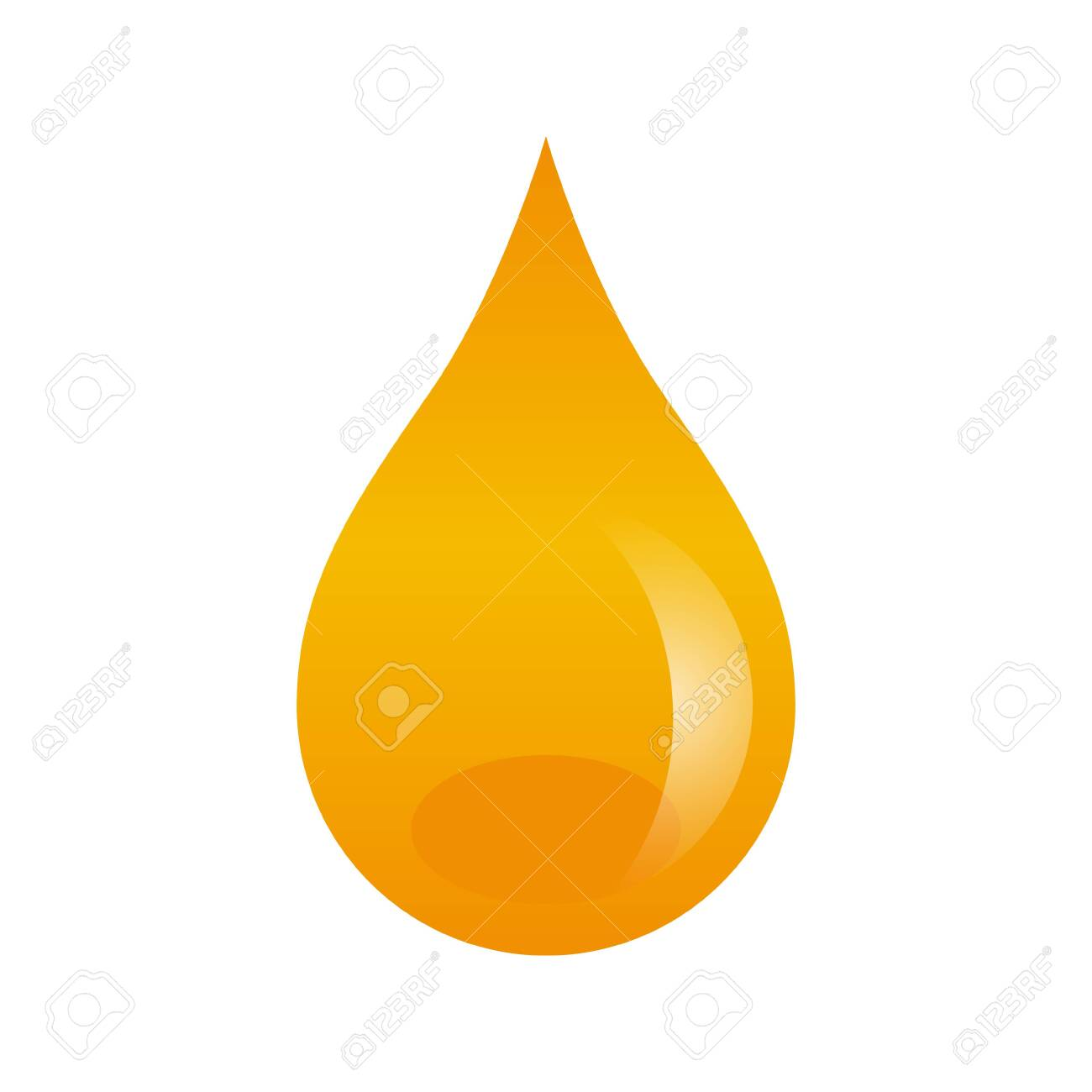 Oil drop isolated on white background. Vector illustration with honey yellow liquid drop. Can be used as a web icon, design etc. - 142650983