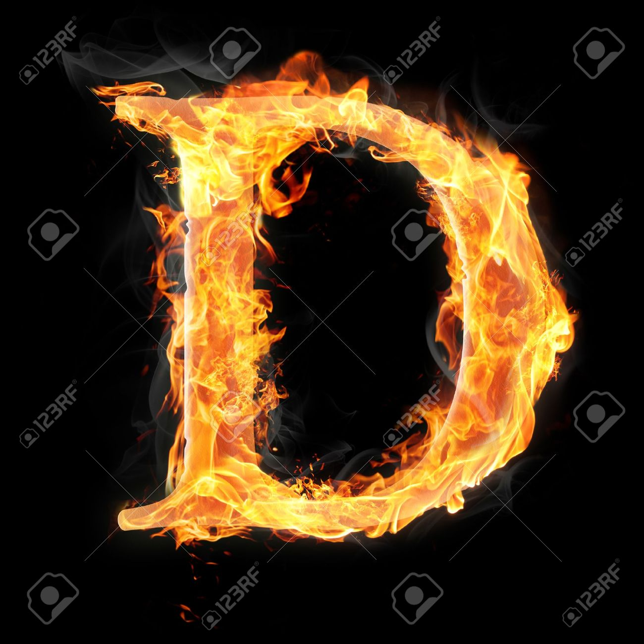 Letters And Symbols In Fire Letter D Stock Photo 22046025