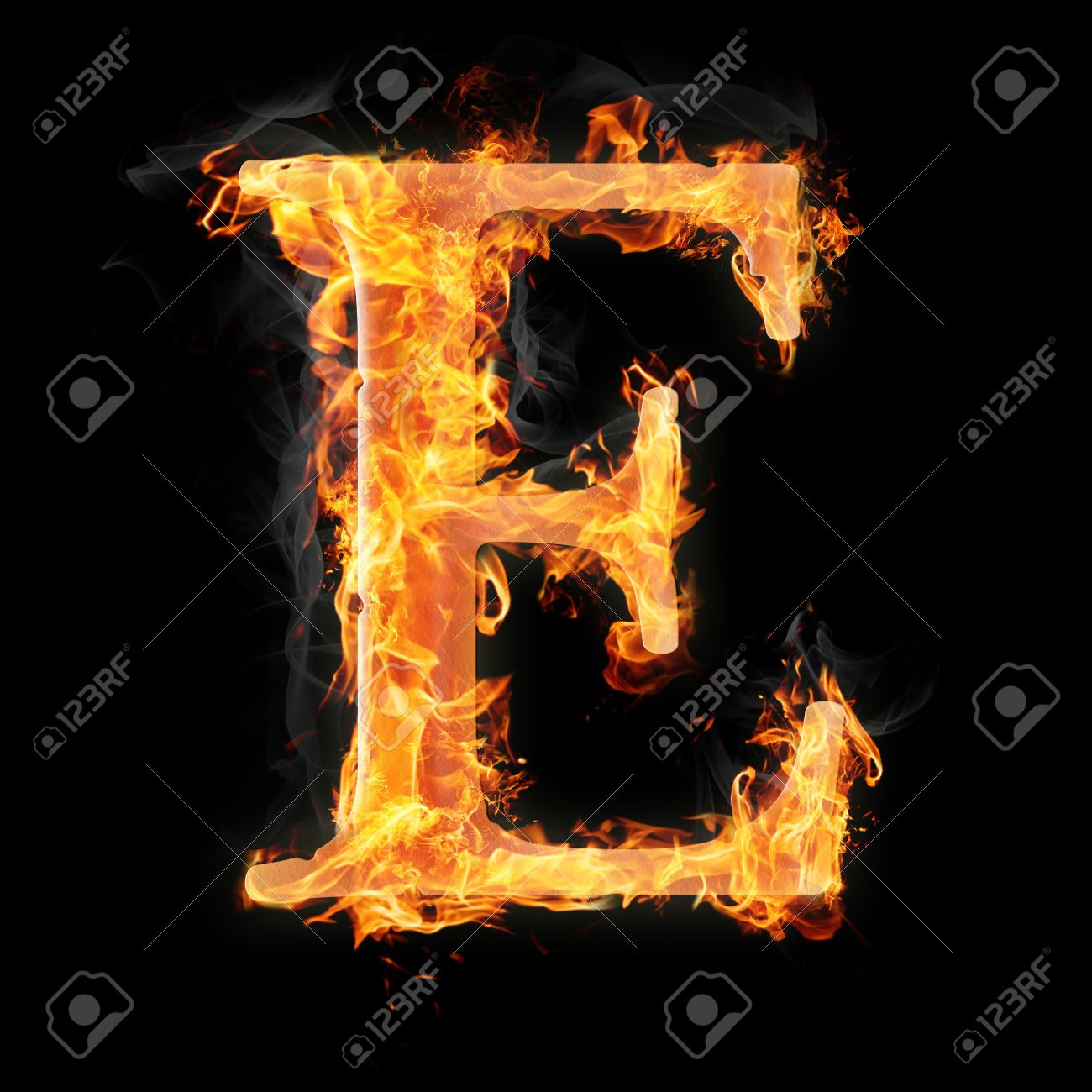 0676a18398df43 Letters And Symbols In Fire - Letter E. Stock Photo, Picture And ...
