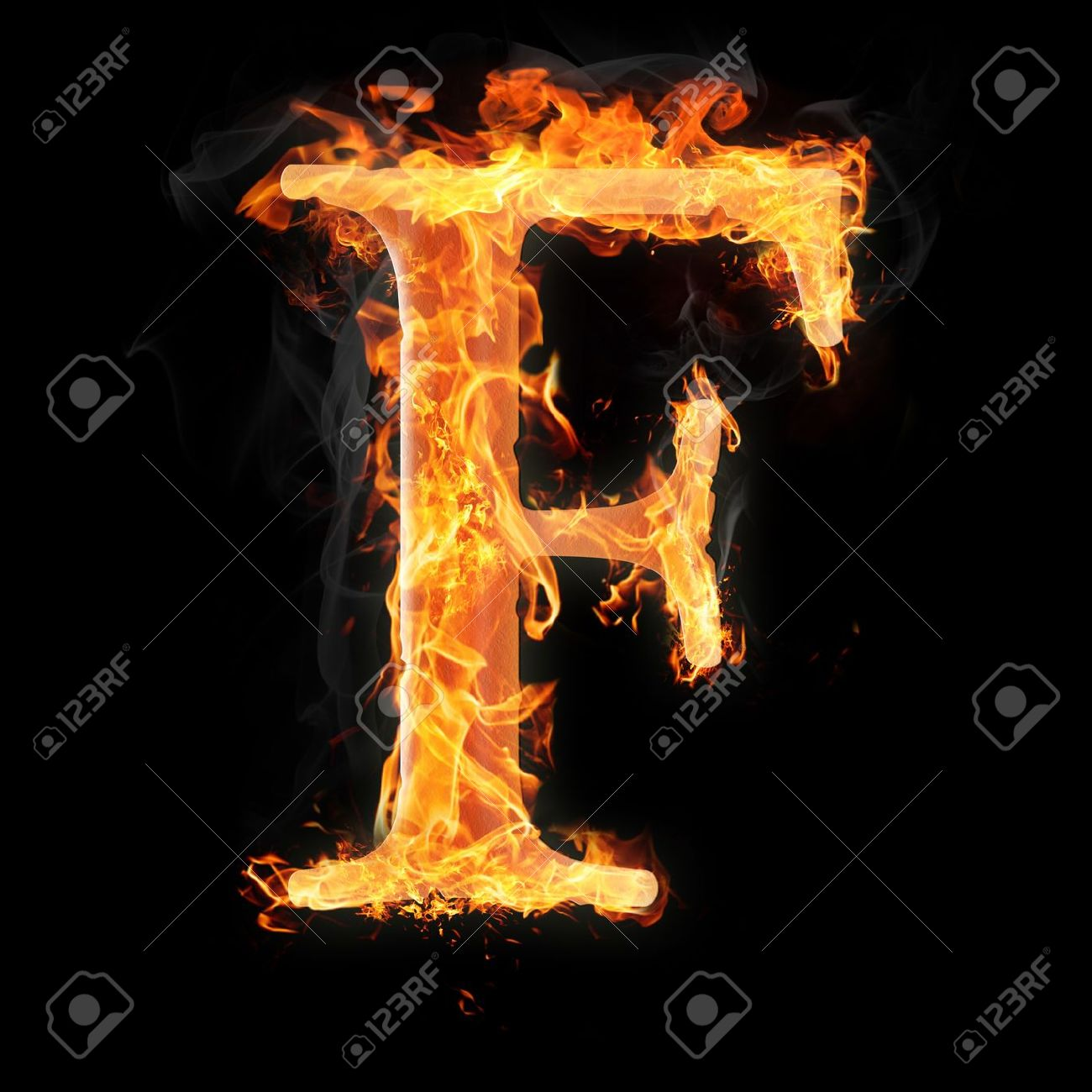Letters And Symbols In Fire Letter F Stock Photo Picture And
