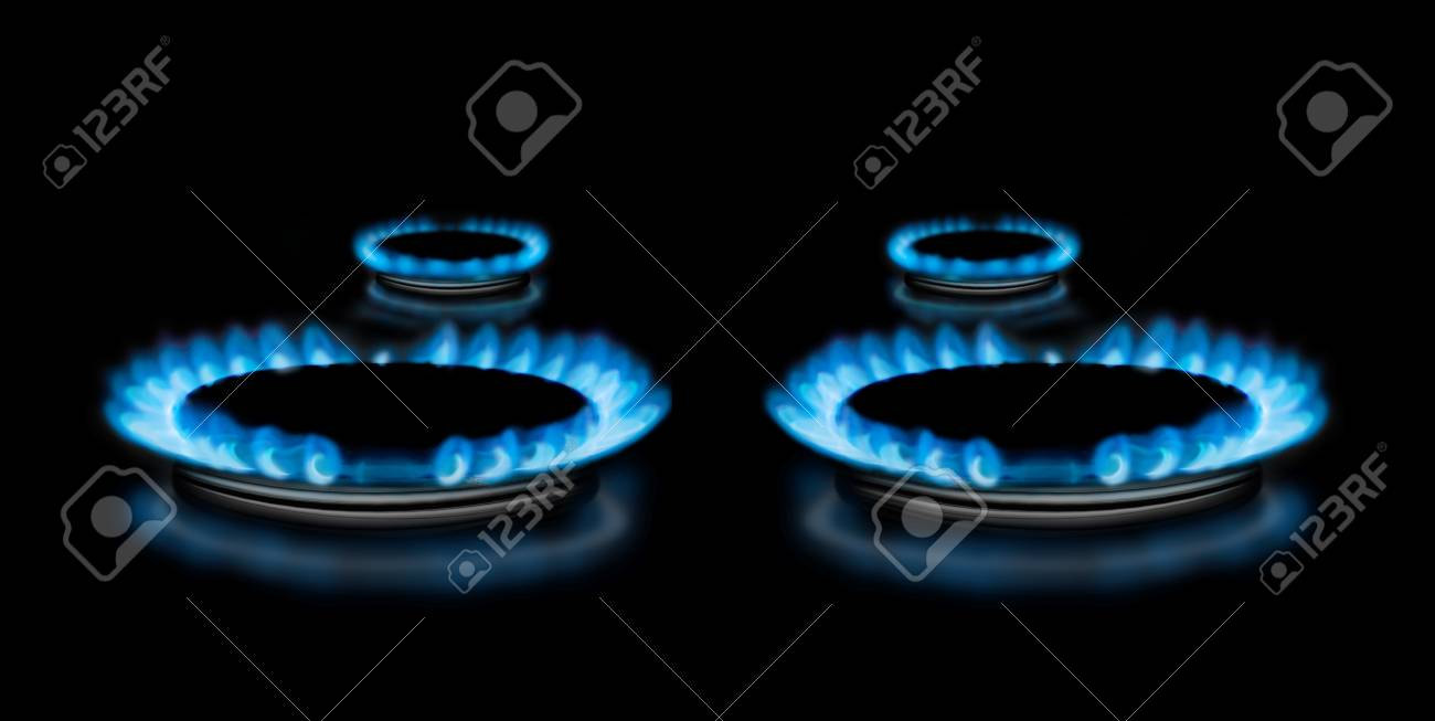 Gas stove with flames above it - on black background Stock Photo - 22046066