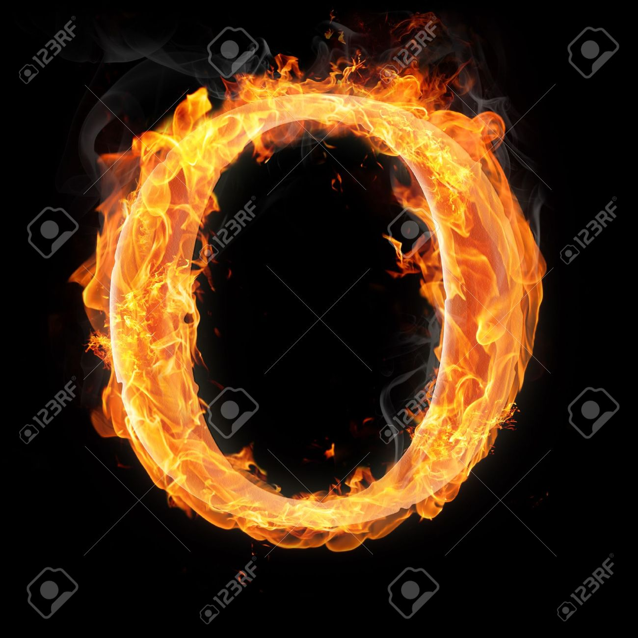 Letters And Symbols In Fire Letter O Stock Photo Picture And