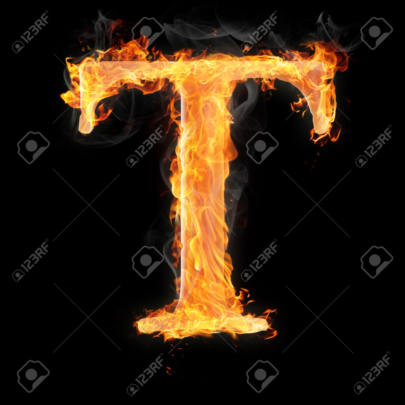 Charmant Letters And Symbols In Fire   Letter T. Stock Photo   22046368