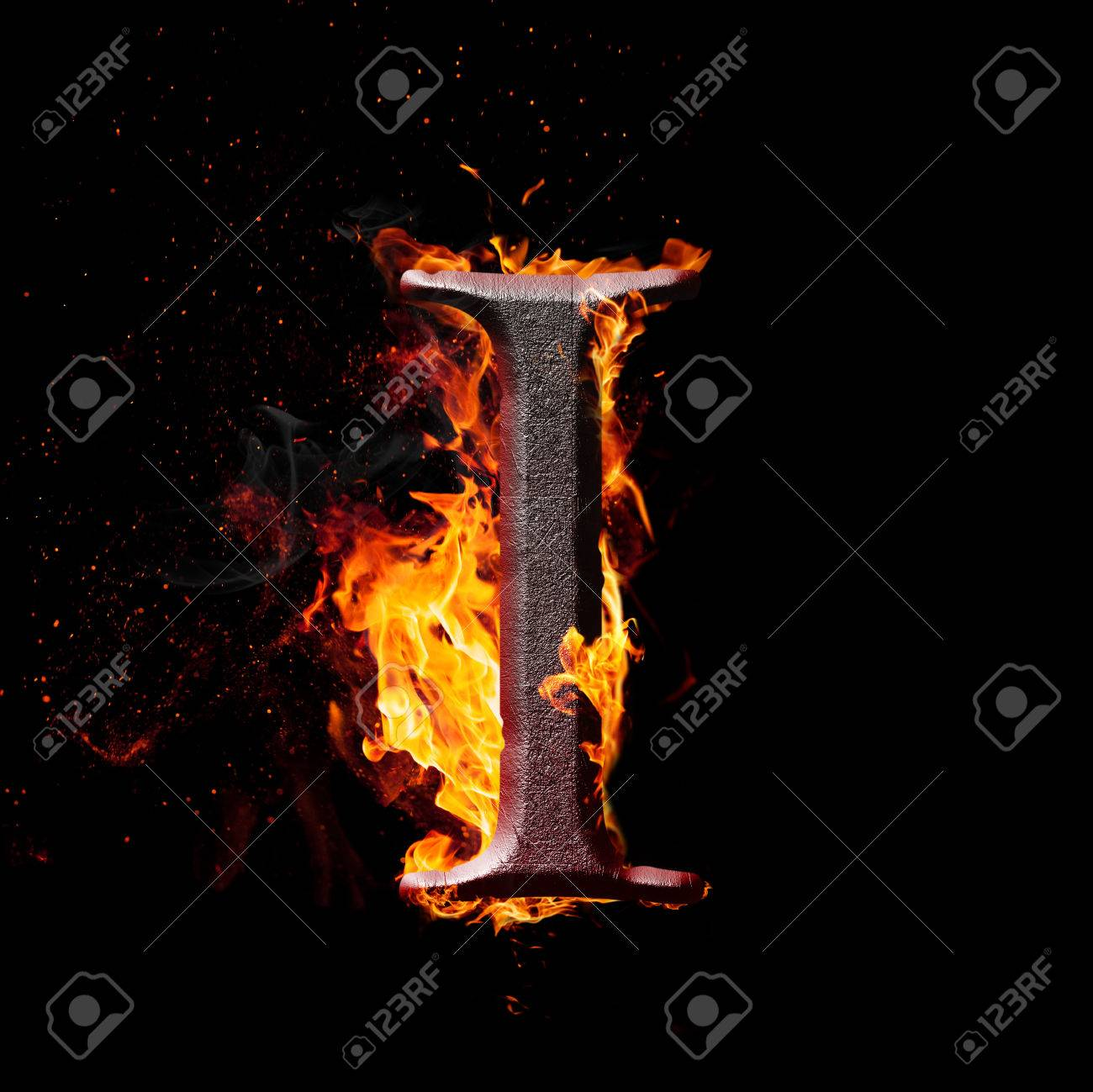 8d7d7c60d23947 Letters And Symbols In Fire - Letter I. Stock Photo, Picture And ...