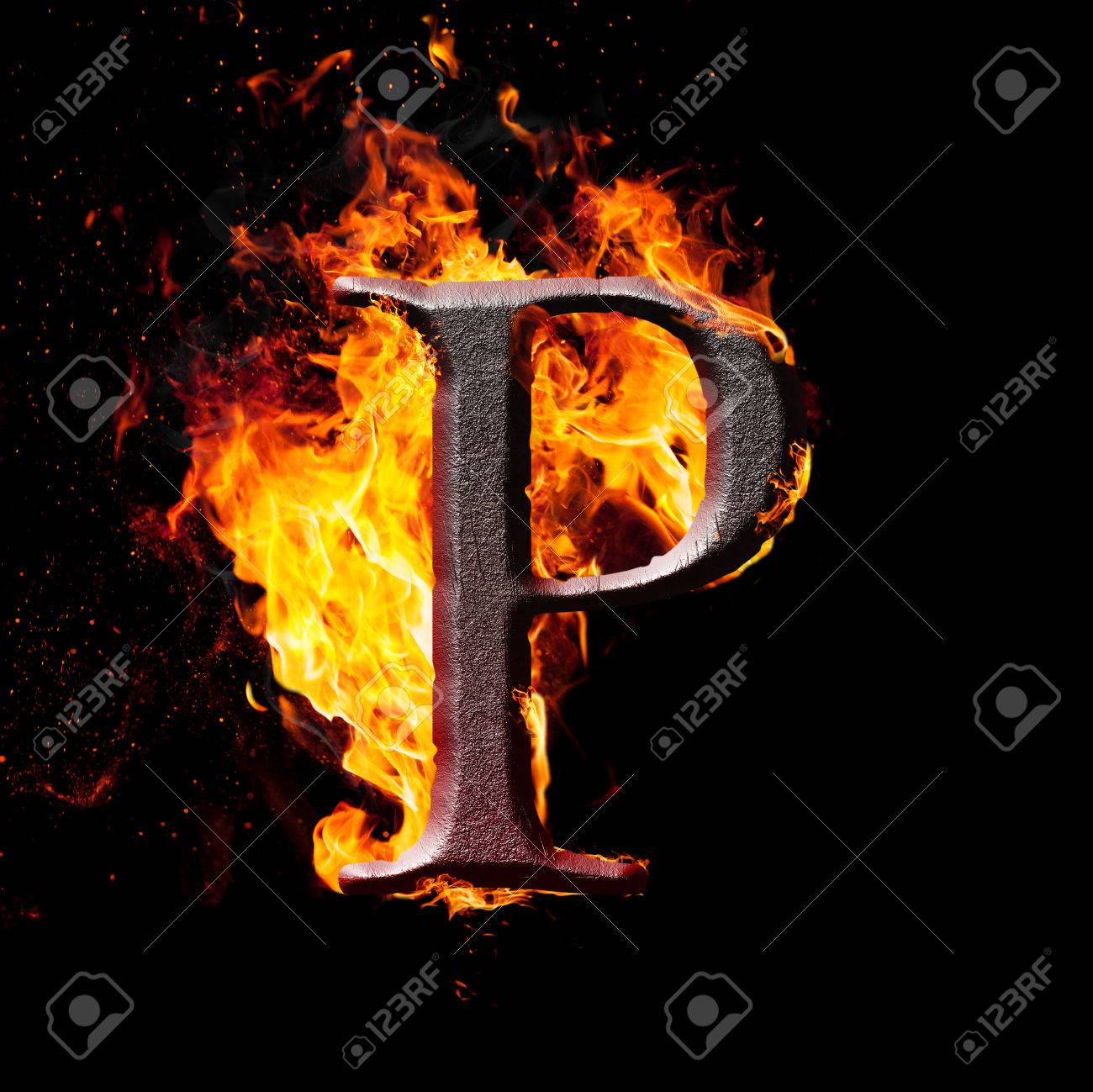 Letters And Symbols In Fire Letter P Stock Photo Picture And