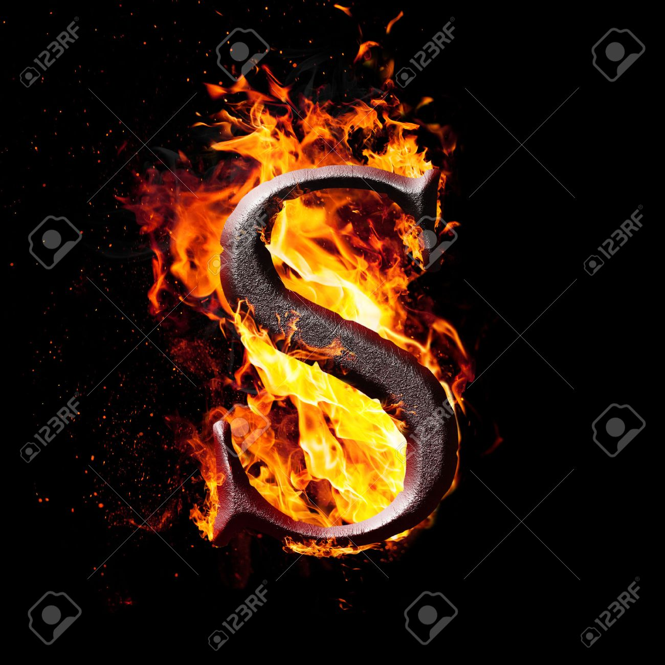 Amazing Fire Letter S: Letters And Symbols In Fire   Letter S. Stock Photo