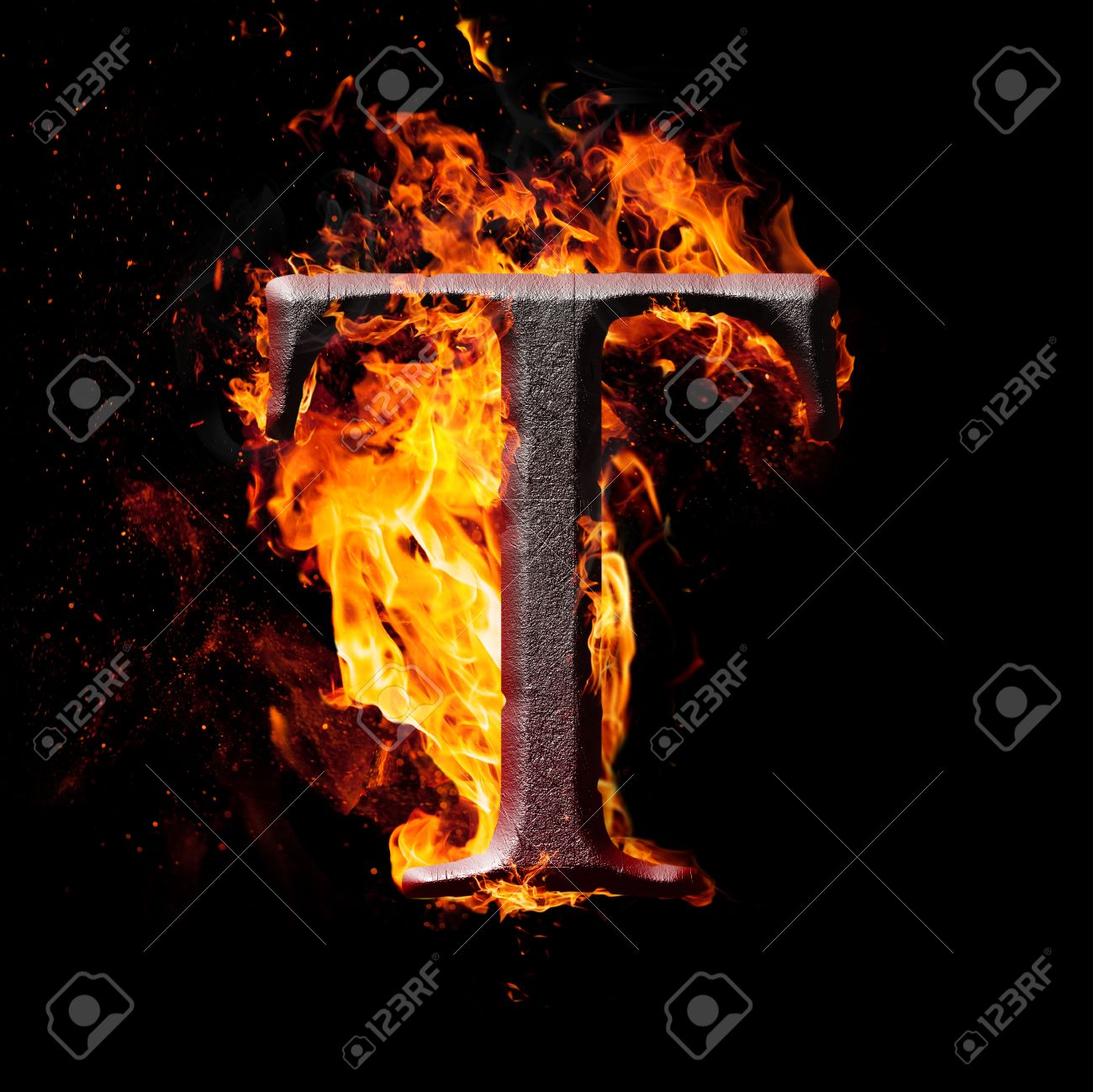 84878b650e21e Letters And Symbols In Fire - Letter T. Stock Photo, Picture And ...