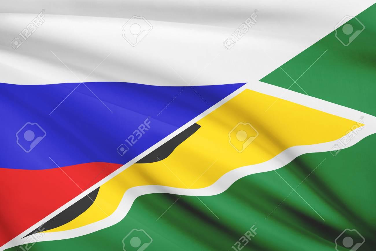 ロシアと風が吹いてガイアナ協同共和国の国旗。シリーズの部分。 の ...