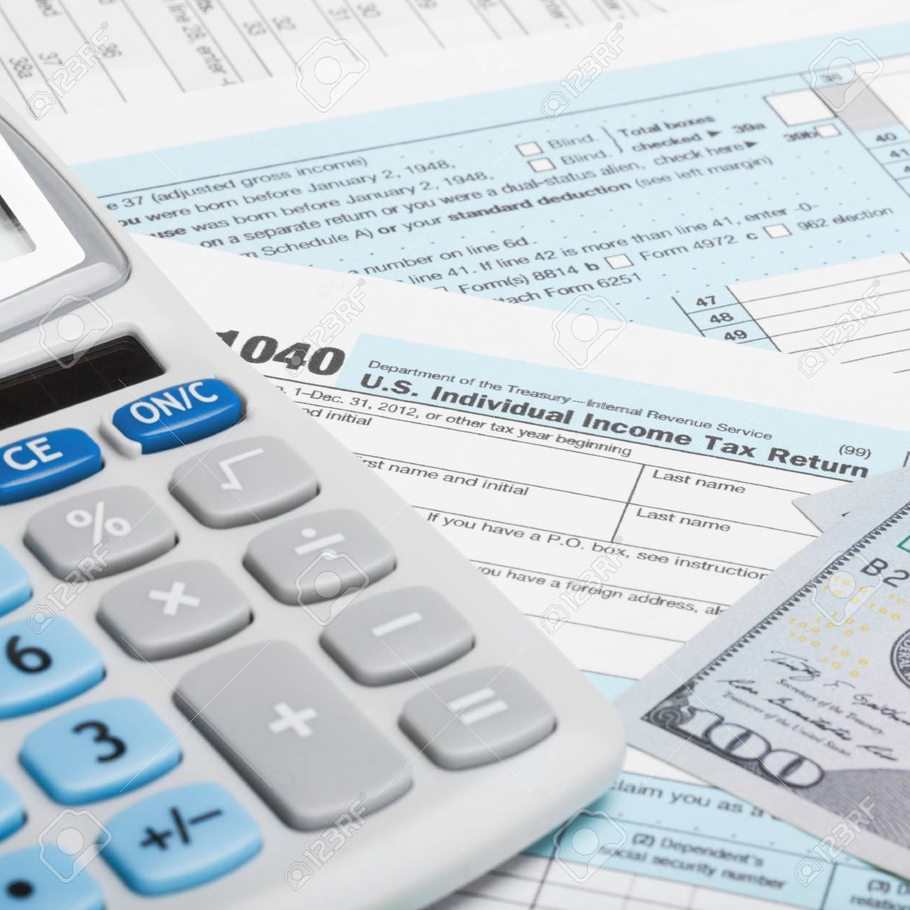 form 1040 calculator  US Tax Form 12 with calculator and US dollars