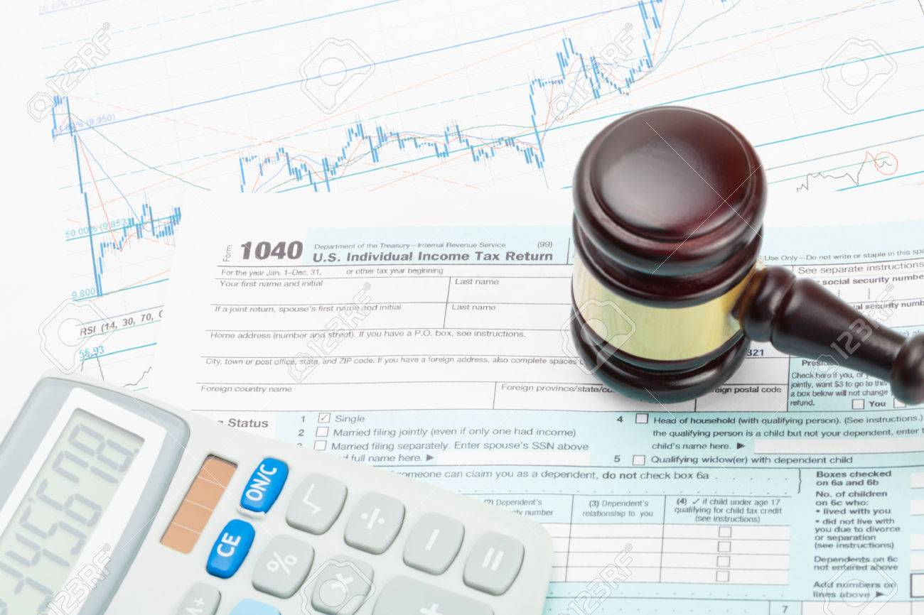 Judges Gavel And Calculator Over  US Tax Form Stock Photo - Us zip code no tax
