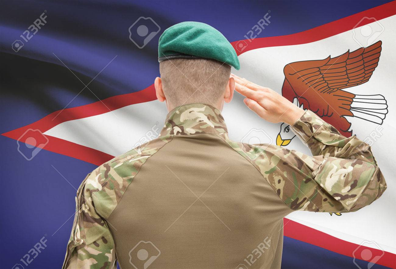 Soldier in hat facing national flag series - American Samoa Stock Photo -  42000619 da4d1c5da75