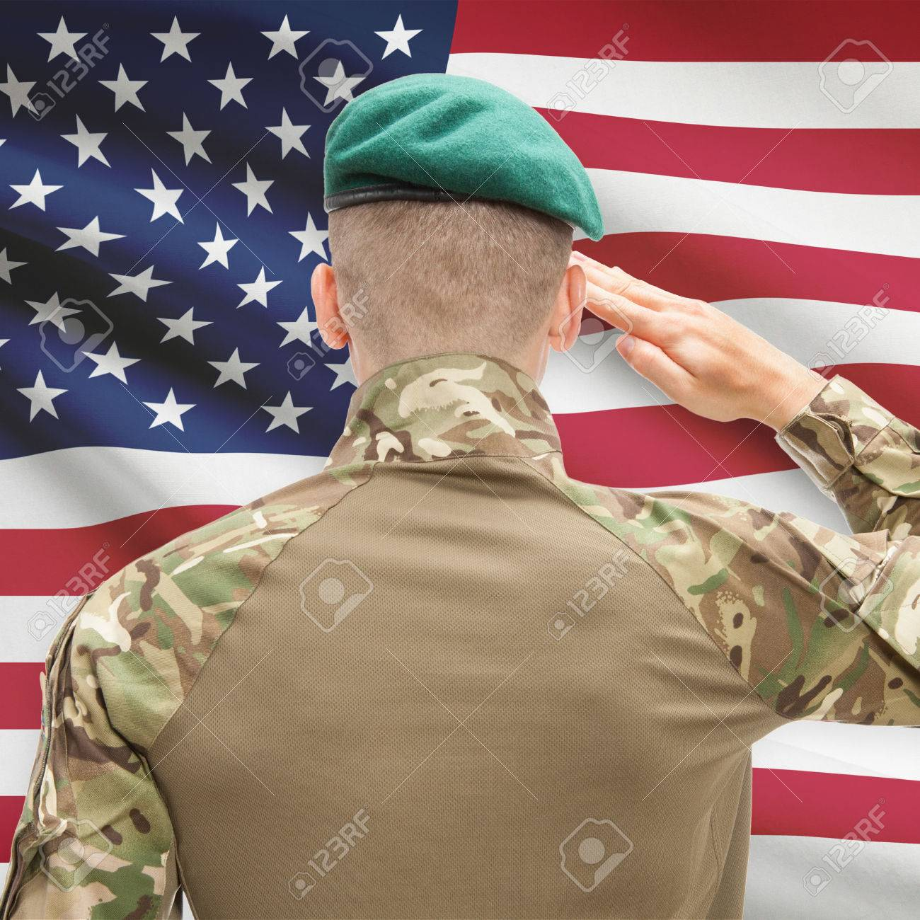 Soldier in hat facing national flag series - United States Stock Photo -  44771700 02919ae6801