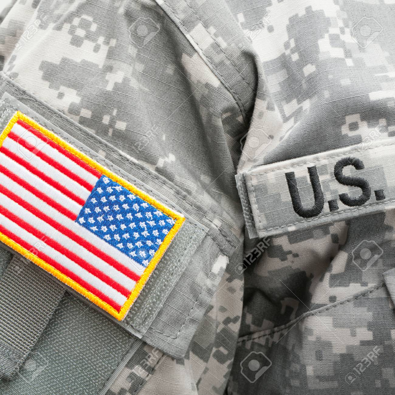58b1b54c354c Close up studio shot of USA flag U.S. ARMY patch attached to military  uniform Stock Photo