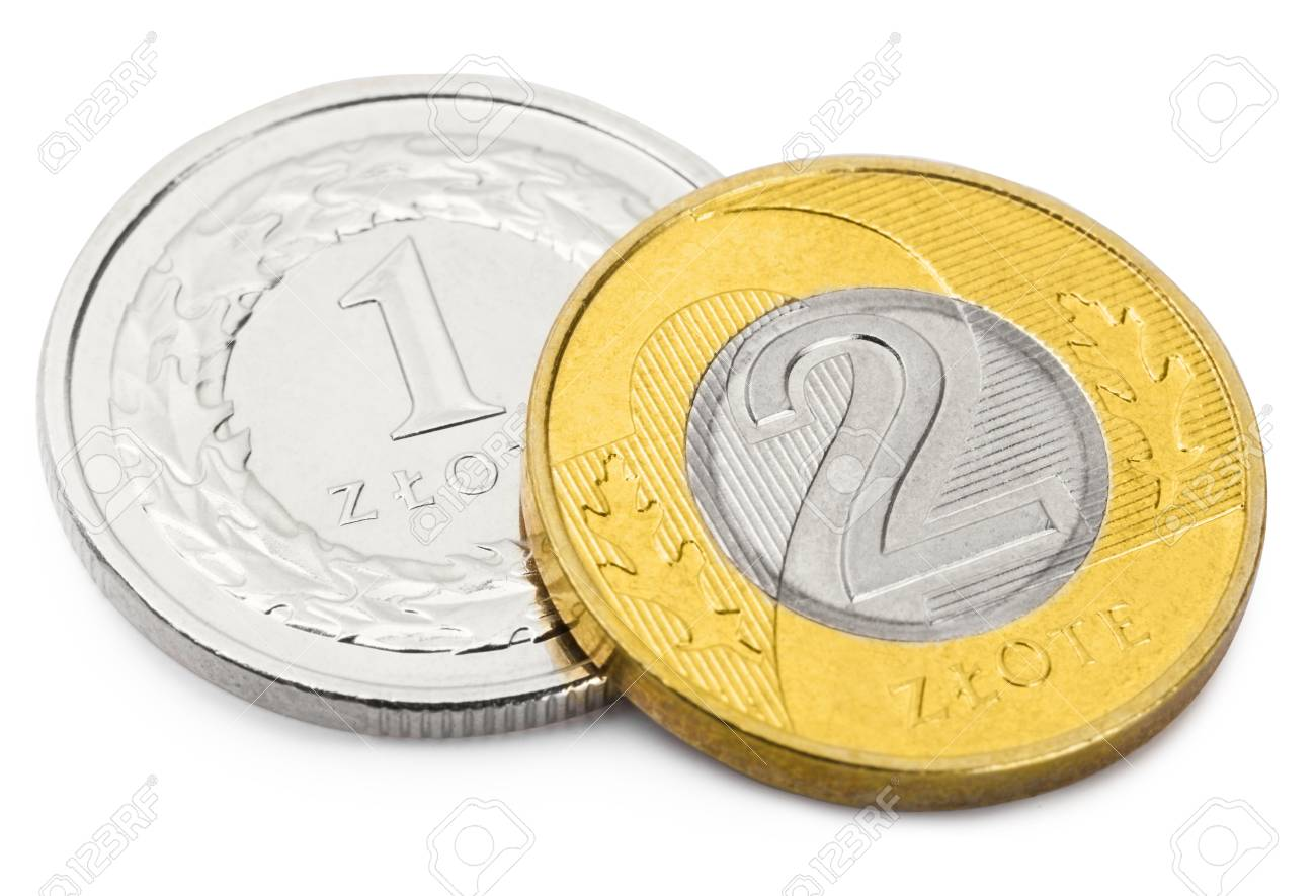 Close up studio shot of two coins of Polish national currency
