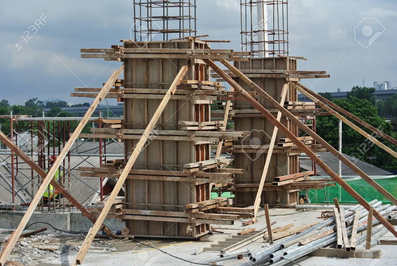 MALACCA, MALAYSIA -JUNE 18, 2016: Column timber form work and