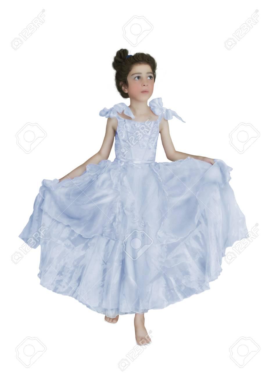 Mädchen Lange Das Auf Blauen Kleid Sucht Weißem Kleine In Nach Oben rBxoedC