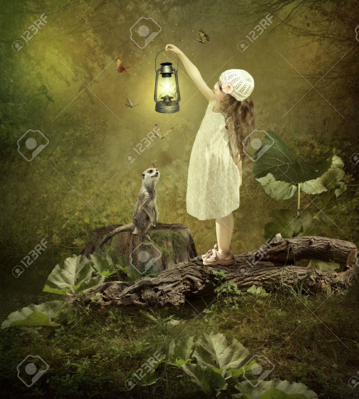 Little Girl With The Magic Lamp, Meerkat, Butterflies Stock Photo ... for Little Girl With Lamp  587fsj