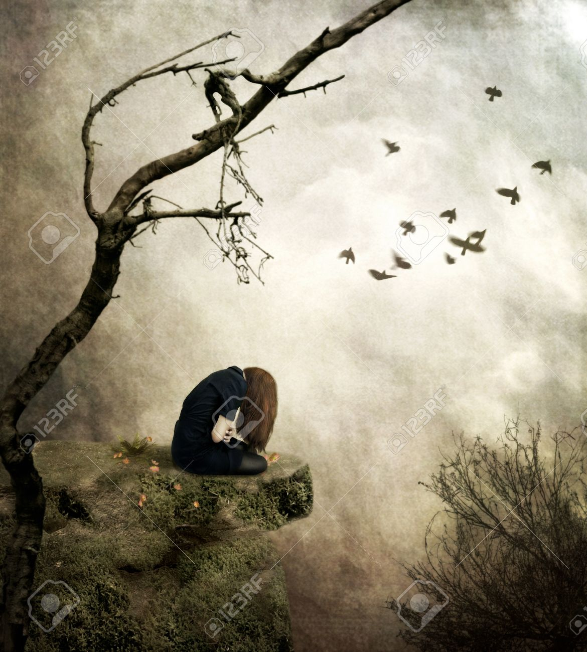 Sad girl sitting on a cliff one digital art emotional stock photo sad girl sitting on a cliff one digital art emotional stock photo 61440874 altavistaventures