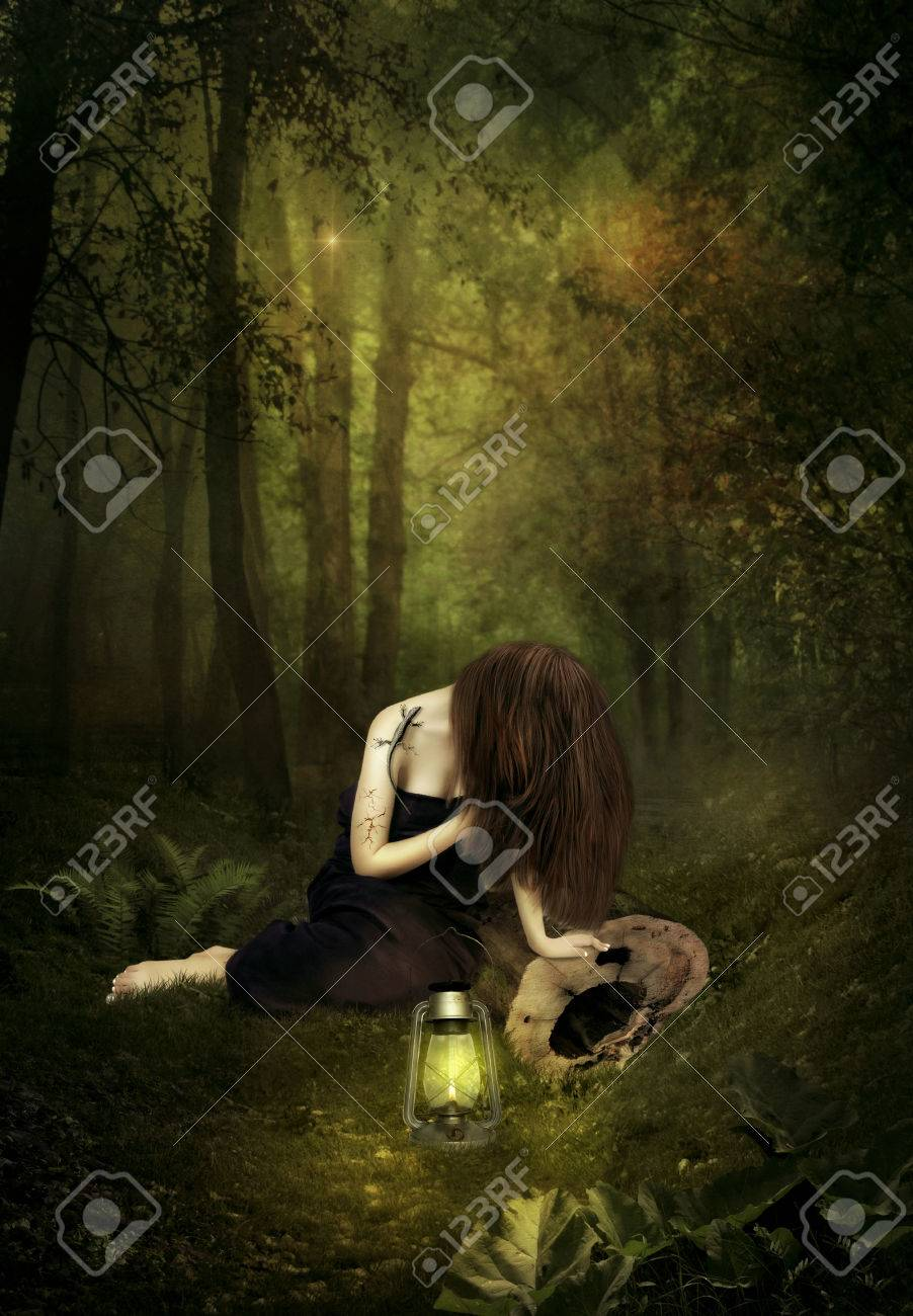 A Sad Girl In A Night In The Light Of A Lamp. Stock Photo, Picture ... for sad girl with lamp  54lyp