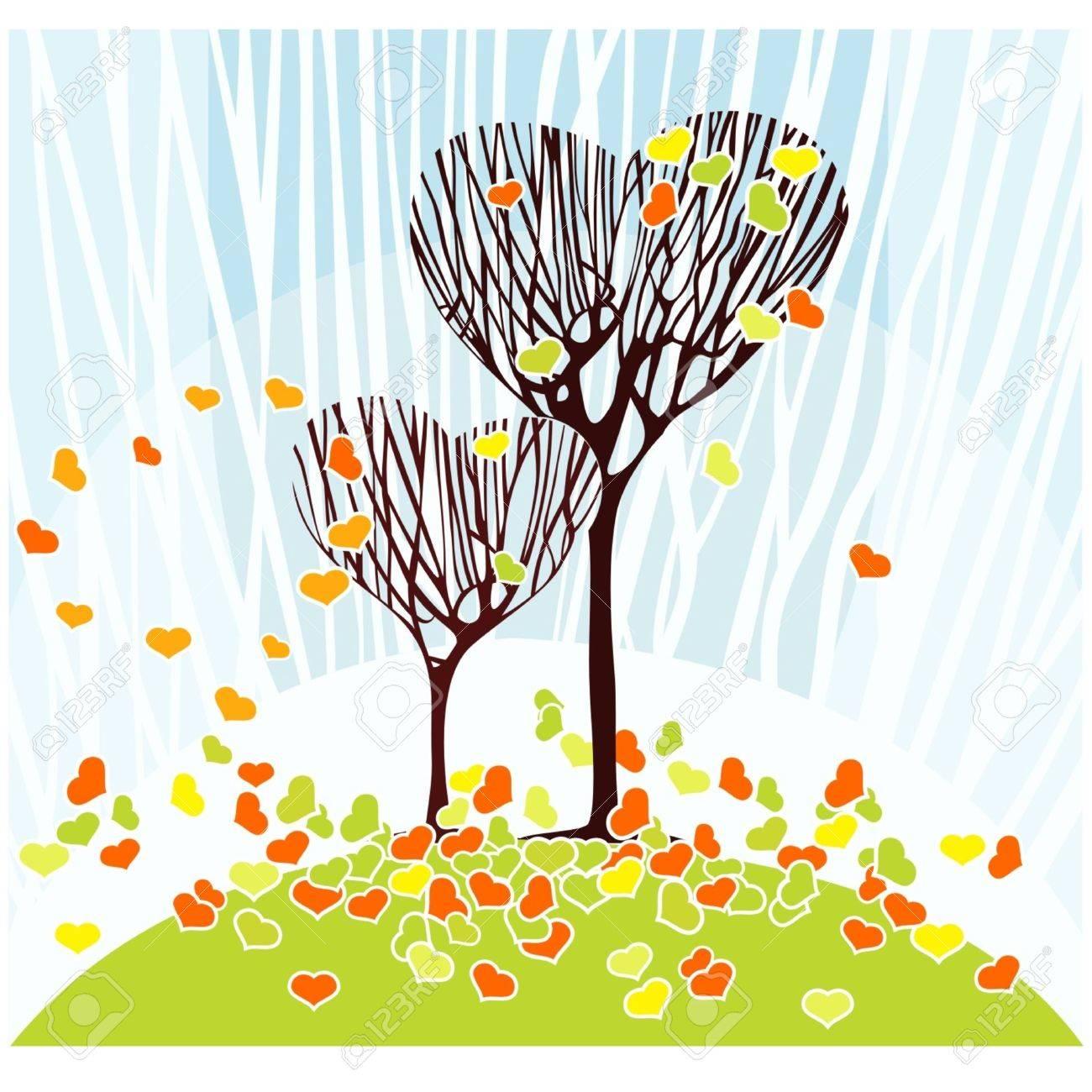 Dos árboles En Forma De Corazones Y Las Hojas Caídas En Forma De