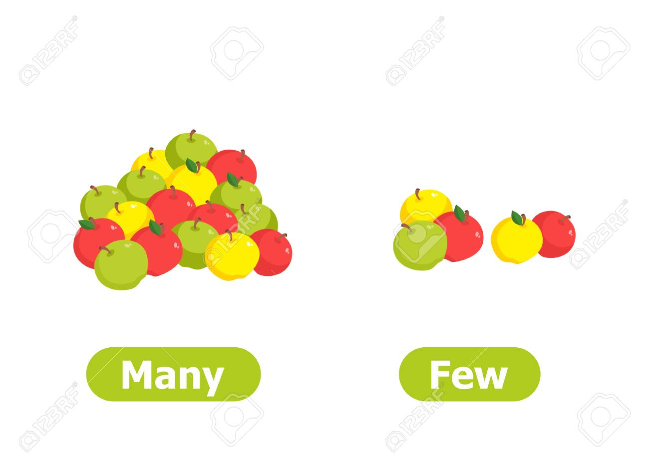 Vector antonyms and opposites. Many and Few. Illustrations on white background. Card for teaching aid. - 114320789