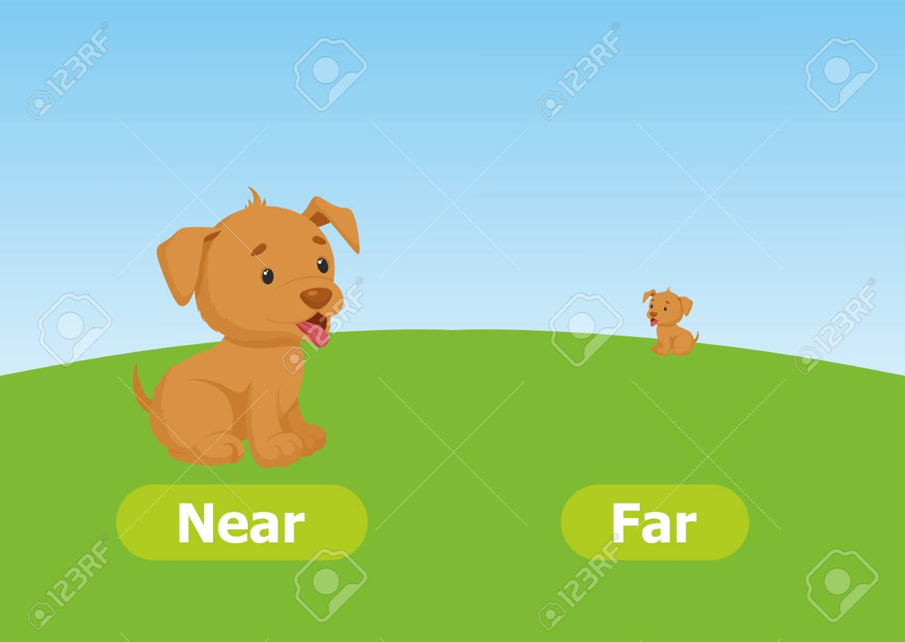 Vector antonyms and opposites. Near and Far. Cartoon characters illustration on white background. Card for teaching aid. - 114320798