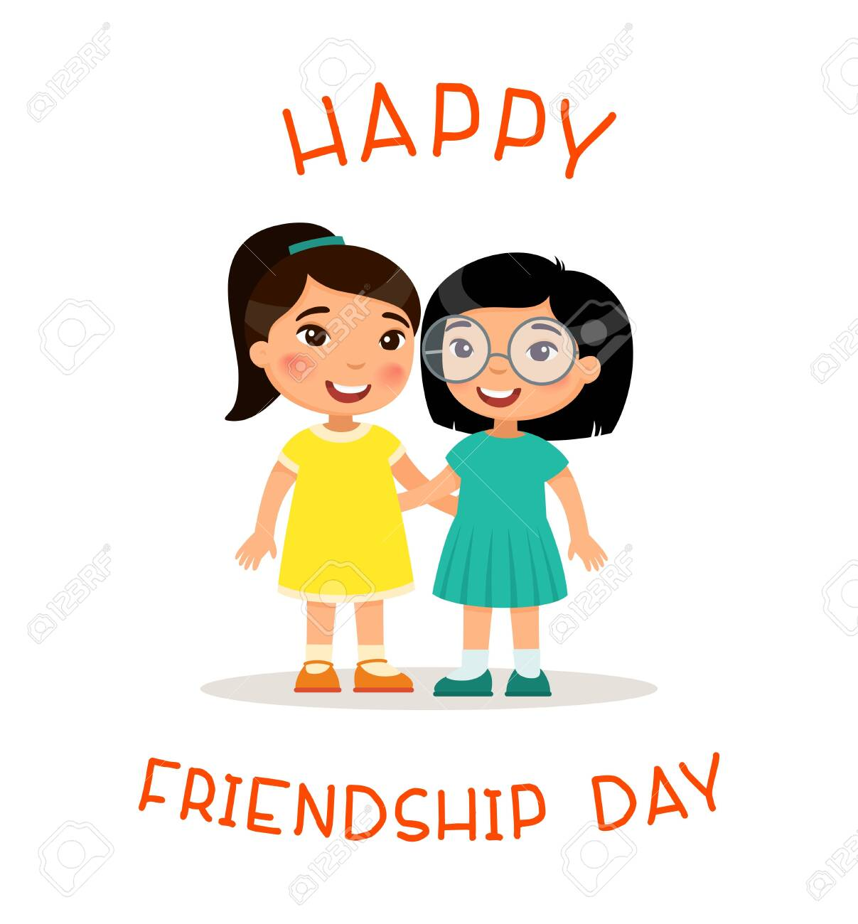 Happy Friendship Day Two Cute Little Asian Girls Hugging Funny Royalty Free Cliparts Vectors And Stock Illustration Image 126876595