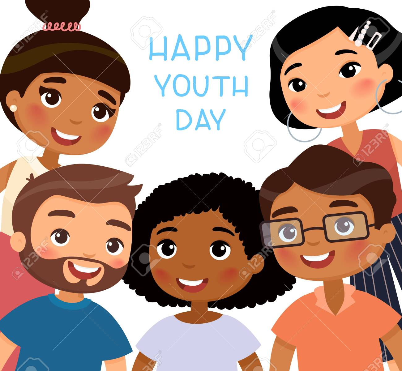 Funny Cartoon Images Of Boys happy youth day. international young girls and young boys friends